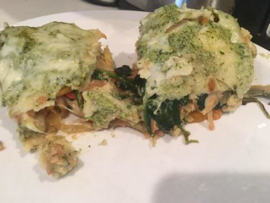 green chicken and veggie enchilada casserole