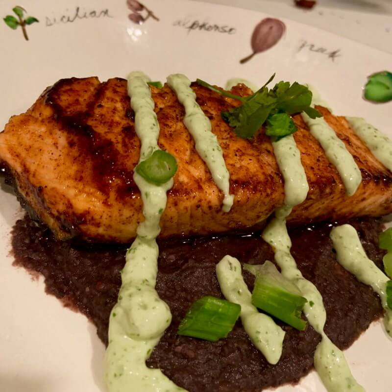 Southwest Salmon With Black Beans and Avocado Drizzle